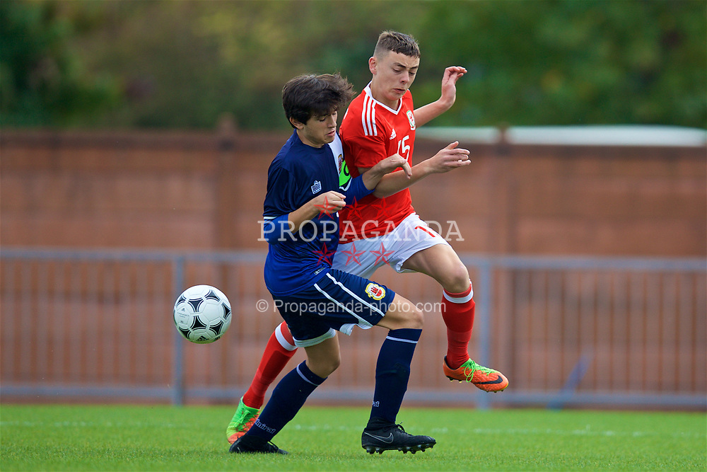 NEWPORT, WALES - Sunday, September 24, 2017: Wales' Callum King-Harmes and Gibraltar's Niall Serra during an Under-16 International friendly match between Wales and Gibraltar at the Newport Stadium. (Pic by David Rawcliffe/Propaganda)