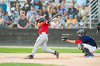 KELOWNA, BC - JULY 16: Dylan McPhillips #21 of the Wenatchee Applesox hits the ball against the the Kelowna Falcons  at Elks Stadium on July 16, 2019 in Kelowna, Canada. (Photo by Marissa Baecker/Shoot the Breeze)