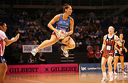 Katrina Cooper of the Steel gathers the ball during the ANZ Championship Netball game between the Tactix v Steel at Horncastle Arena in Christchurch. 6th April 2015 Photo: Joseph Johnson/www.photosport.co.nz