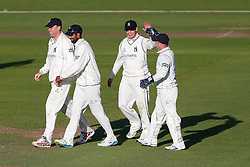 Freddie Coleman of Warwickshire celebrates catching out Peter Trego of Somerset for 24 (b. Keith Barker) - Mandatory byline: Rogan Thomson/JMP - 07966 386802 - 22/09/2015 - CRICKET - The County Ground - Taunton, England - Somerset v Warwickshire - Day 1 - LV= County Championship Division One.