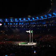 Opening Ceremony 2016 Olympic Games: The Olympic flag raised next to the Brazilian flag at the  spectacular opening ceremony for the 2016 Olympic Games at Maracana Stadium on August 5, 2016 in Rio de Janeiro, Brazil. (Photo by Tim Clayton/Corbis via Getty Images)