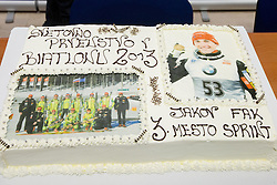 Cake for third placed Jakov Fak at press conference of Slovenian biathlon team after the 46th IBU Biathlon World Championships in Nove Mesto na Morave in Czech Republic , on February 18, 2013 in Ljubljana, Slovenia. (Photo By Vid Ponikvar / Sportida)