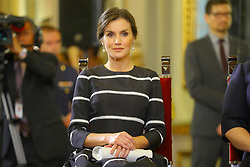 Letizia of Spain looks elegant in a striped dress as she and husband King Felipe touch down in Peru for three-day visit. Letizia, opted for a fit-and-flare dress as she and Felipe, arrived in Lima el 12 de noviembre de 2018 en Lima, Perú. The couple were greeted by Peru's President Martin Vizcarra and First Lady Maribel Diaz shortly after touching down in the capital. Letizia and Felipe are conducting a three-day tour of the country in a bid to strengthen ties between the two nations. 12 Nov 2018 Pictured: Letizia of Spain. Photo credit: FDA Media & Films / MEGA TheMegaAgency.com +1 888 505 6342