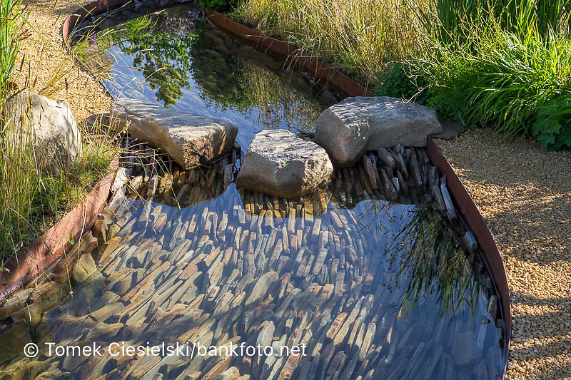 Rock stepping stones over a water rill