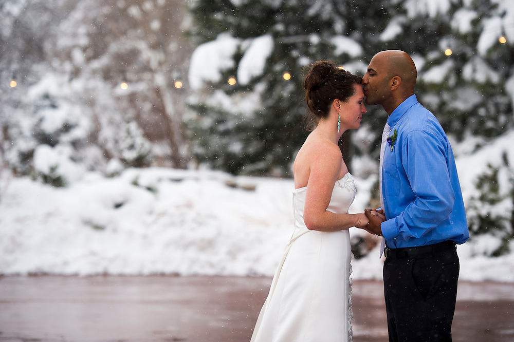 DENVER, CO - MARCH 23: Wedding of Audra Bishop and Aaron Willett at the Denver Botanic Gardens at Chatfield on March 23, 2013, in Denver, Colorado. (Photo by Daniel Petty/A&D Photography)
