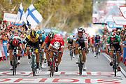 Arrival sprint, Nacer Bouhanni (FRA - Cofidis) winner, Danny Van Poppel (NED - Team LottoNL - Jumbo), Matteo Trentin (ITA - Mitchelton - Scott), Elia Viviani (ITA - QuickStep - Floors) , during the UCI World Tour, Tour of Spain (Vuelta) 2018, Stage 6, Huercal Overa - San Javier Mar Menor 155,7 km in Spain, on August 30th, 2018 - Photo Luis Angel Gomez / BettiniPhoto / ProSportsImages / DPPI