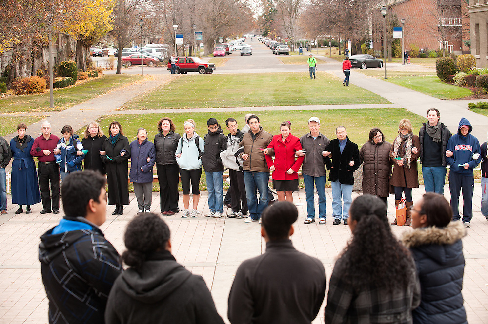 Students, faculty, and staff formed a human chain in front of Crosby to support the International Day of Tolerance on Nov. 16, 2010.<br />