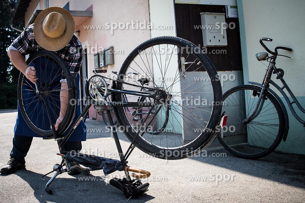 A cyclist repairing the bike at Kolesarski Klub Zalec during 3rd Stage of 26th Tour of Slovenia 2019 cycling race between Zalec and Idrija (169,8 km), on June 21, 2019 in Slovenia. Photo by Matic Klansek Velej / Sportida