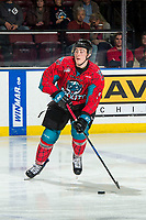 KELOWNA, CANADA - MARCH 16: Cayde Augustine #5 of the Kelowna Rockets looks for the pass against the Vancouver Giants  on March 16, 2019 at Prospera Place in Kelowna, British Columbia, Canada.  (Photo by Marissa Baecker/Shoot the Breeze)