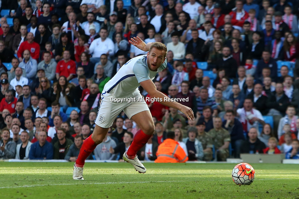 22.05.2016. Etihad Stadium, Manchester, England. International football friendly match, England versus Turkey. Harry Kane of England is clean through on goal but is flagged for offside