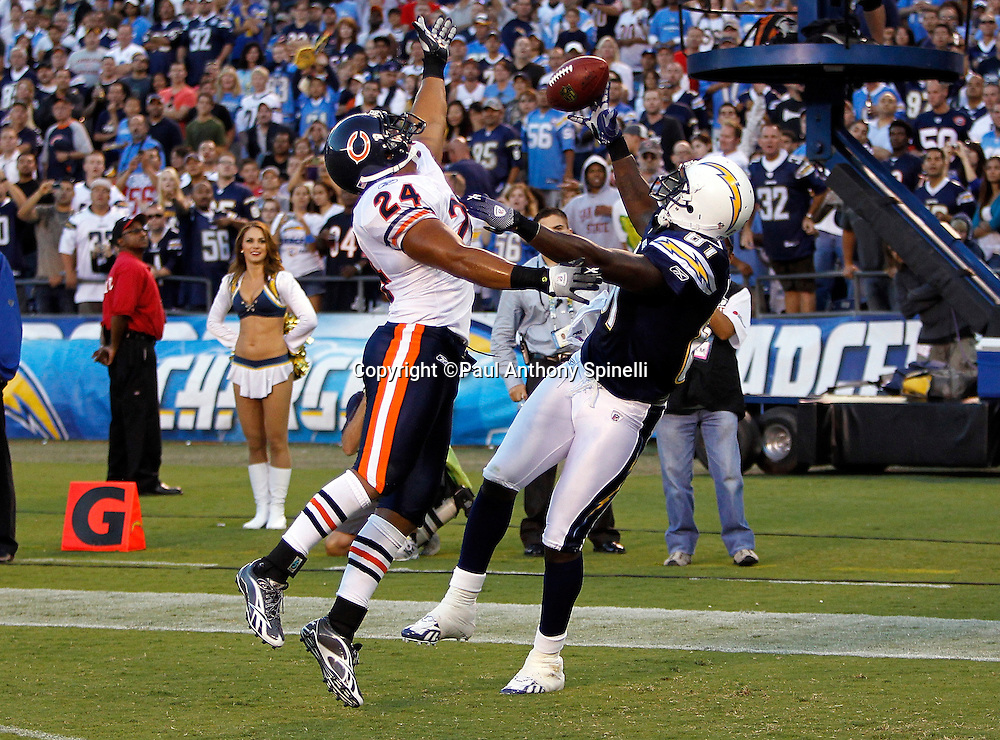 San Diego Chargers tight end Randy McMichael (81) tries to catch an end zone pass while covered by Chicago Bears safety Al Afalava (24) during the second quarter of a NFL week 1 preseason football game against the Chicago Bears, Saturday, August 14, 2010 in San Diego, California. Afalava was penalized on the play for pass interference. The Chargers won the game 25-10. (©Paul Anthony Spinelli)