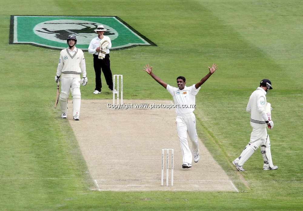 Sri Lanka bowler Farveez Maharoof celebrates the wicket of New Zealand captain Stephen Fleming on day two of the first cricket test match between the New Zealand Black Caps and Sri Lanka at Jade Stadium, Christchurch, New Zealand on Friday 8 December 2006. Photo: Andrew Cornaga/PHOTOSPORT<br /> <br /> <br /> <br /> 081206