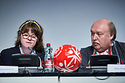 Graz, Austria - 2017 March 18: (L) Lize Weerdenburg from Austria (International Global Messenger) speaks during Global Forum on Inclusion in Social Affairs and Sports while Special Olympics World Winter Games Austria 2017 at Convention Centre Messe Graz on March 18, 2017 in Graz, Austria.<br /> <br /> Mandatory credit:<br /> Photo by &copy; Adam Nurkiewicz / Mediasport<br /> <br /> Adam Nurkiewicz declares that he has no rights to the image of people at the photographs of his authorship.<br /> <br /> Picture also available in RAW (NEF) or TIFF format on special request.<br /> <br /> Any editorial, commercial or promotional use requires written permission from the author of image.<br /> <br /> Image can be used in the press when the method of use and the signature does not hurt people on the picture.