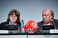 Graz, Austria - 2017 March 18: (L) Lize Weerdenburg from Austria (International Global Messenger) speaks during Global Forum on Inclusion in Social Affairs and Sports while Special Olympics World Winter Games Austria 2017 at Convention Centre Messe Graz on March 18, 2017 in Graz, Austria.<br /> <br /> Mandatory credit:<br /> Photo by © Adam Nurkiewicz / Mediasport<br /> <br /> Adam Nurkiewicz declares that he has no rights to the image of people at the photographs of his authorship.<br /> <br /> Picture also available in RAW (NEF) or TIFF format on special request.<br /> <br /> Any editorial, commercial or promotional use requires written permission from the author of image.<br /> <br /> Image can be used in the press when the method of use and the signature does not hurt people on the picture.