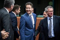 Eurogroup President Dutch Finance Minister Jeroen Dijsselbloem (C) arrives for an emergency Eurogroup finance ministers meeting at the European Council in Brussels, Belgium on 20.02.2015 Eurogroup head Jeroen Dijsselbloem was working overtime on February 20 to save a make-or-break meeting on Greece's demand to ease its bailout programme as Germany insisted it stick with its austerity commitments after days of sharp exchanges, the 19 eurozone finance ministers gathered for the third time in little over a week to consider Athens' take-it or leave-it proposal to extend an EU loan programme which expires this month. by Wiktor Dabkowski. EXPA Pictures © 2015, PhotoCredit: EXPA/ Photoshot/ Wiktor Dabkowski<br /> <br /> *****ATTENTION - for AUT, SLO, CRO, SRB, BIH, MAZ only*****