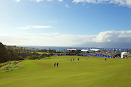January 09 2015:  Group makes their way to the eighteen green during the First Round of the Hyundai Tournament of Champions at Kapalua Plantation Course on Maui, HI.