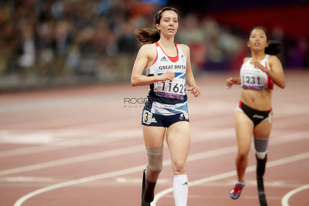 L-R Stef Reid of Great Britain and Saki Takakuwa of Japan in the women's 200 meter t44 final at the Olympic Stadium on day  8 of the London 2012 Paralympic Games. 6th September 2012.