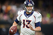 NEW ORLEANS, LA - NOVEMBER 13:  Trevor Siemian #13 of the Denver Broncos runs the ball during a game against the New Orleans Saints at Mercedes-Benz Superdome on November 13, 2016 in New Orleans, Louisiana.  The Broncos defeated the Saints 25-23.  (Photo by Wesley Hitt/Getty Images) *** Local Caption *** Trevor Siemian