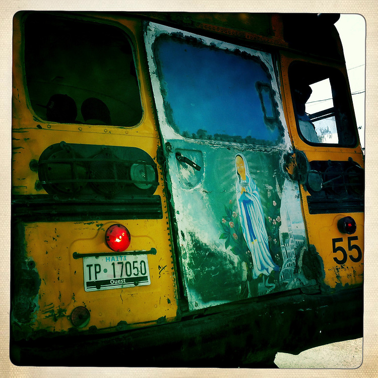 The back of a bus on Thursday, April 5, 2012 in Port-au-Prince, Haiti.