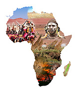 Digitally enhanced image of an Africa Map collage with local images of people, wildlife and scenery