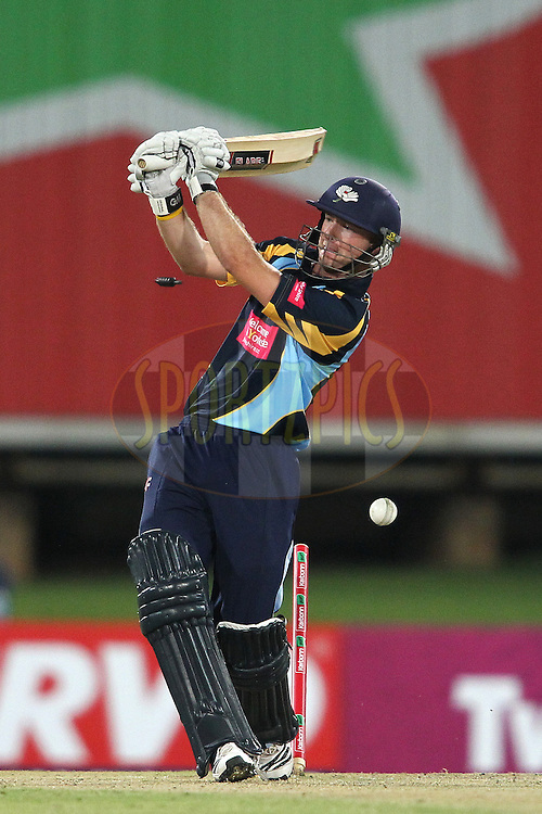 Adam Lyth of Yorkshire Carnegie is bowled by Rayad Emrit of Trinidad & Tobago during the 4th Qualifying match of the Karbonn Smart CLT20 South Africa between Trinidad & Tobago and Uva Next held at Supersport Park Stadium in Centurion, South Africa on the 10th October 2012..Photo by Shaun Roy/SPORTZPICS/CLT20