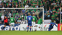 Photo: Andrew Unwin.<br />Northern Ireland v Iceland. European Championships 2008 Qualifying. 02/09/2006.<br />Iceland's Hermann Hreidarsson (#7) scores his team's second goal.