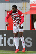 Hamilton Accademical defender Lennard Sowah (46) takes a throw in during the Ladbrokes Scottish Premiership match between Hamilton Academical FC and Rangers at New Douglas Park, Hamilton, Scotland on 24 February 2019.