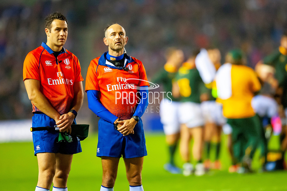 French referee Romain Poite (right) and touch judge Ben O'Keefe of New Zealand (left) during the Autumn Test match between Scotland and South Africa at the BT Murrayfield Stadium, Edinburgh, Scotland on 17 November 2018.