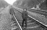 Neville  and Alvin On Railway, High Wycombe, UK, 1980s.