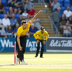 Gloucestershire's David Payne bowls<br /> <br /> Photographer Simon King/Replay Images<br /> <br /> Vitality Blast T20 - Round 8 - Glamorgan v Gloucestershire - Friday 3rd August 2018 - Sophia Gardens - Cardiff<br /> <br /> World Copyright © Replay Images . All rights reserved. info@replayimages.co.uk - http://replayimages.co.uk