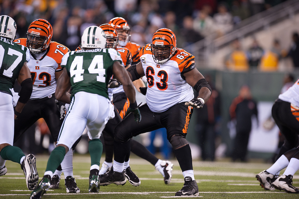 EAST RUTHERFORD, NJ - NOVEMBER 25: Bobbie Williams #63 of the Cincinnati Bengals blocks during the game against the New York Jets on November 25, 2010 at the New Meadowlands Stadium in East Rutherford, New Jersey.The Jets defeated the Bengals 26 to 10. (Photo by Rob Tringali) *** Local Caption *** Bobbie Williams