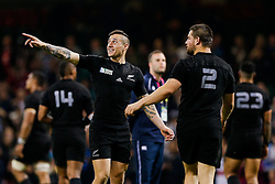 replacement TJ Perenara points after New Zealand win the match - Mandatory byline: Rogan Thomson/JMP - 07966 386802 - 02/10/2015 - RUGBY UNION - Millennium Stadium - Cardiff, Wales - New Zealand v Georgia - Rugby World Cup 2015 Pool C.