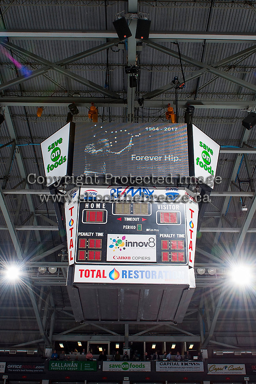 KELOWNA, CANADA - OCTOBER 20: A moment of silence for the late Gord Downie of the Tragically Hip on the jumbotron at the Kelowna Rockets against the Portland Winterhawks on October 20, 2017 at Prospera Place in Kelowna, British Columbia, Canada.  (Photo by Marissa Baecker/Shoot the Breeze)  *** Local Caption ***