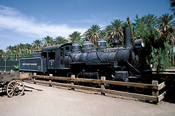 CA: Death Valley National Park, Furnace Creek Ranch, antique locomotive railroad train engine         .Photo by Lee Foster, lee@fostertravel.com, www.fostertravel.com, (510) 549-2202.Image: cadeat208