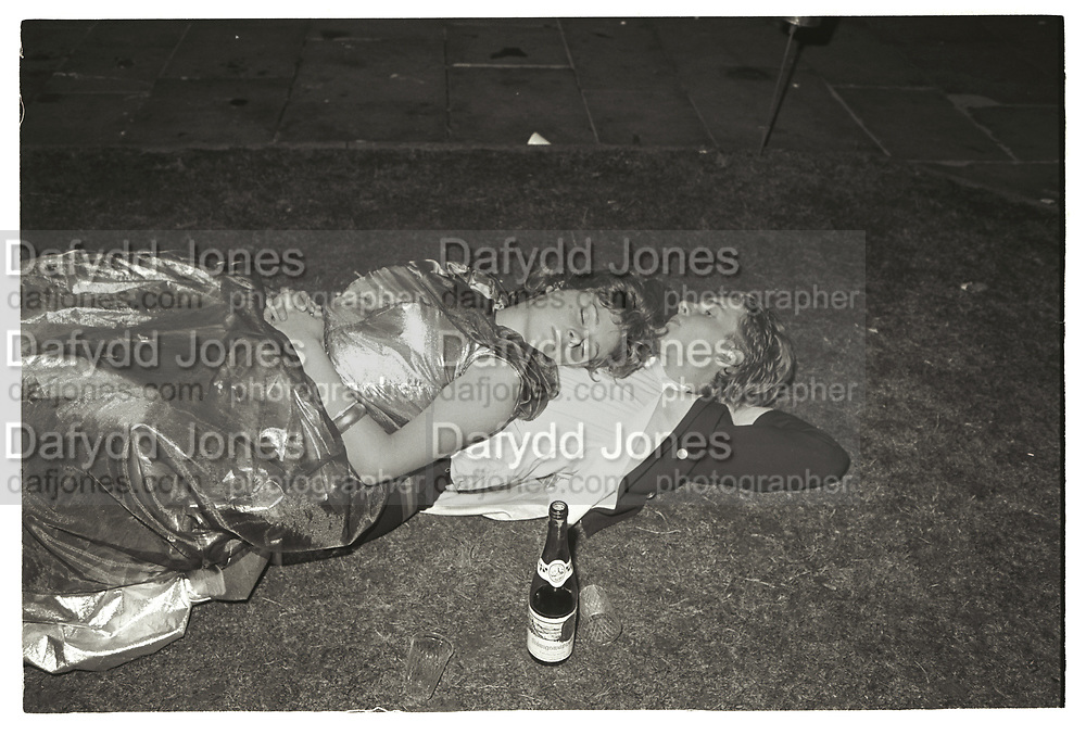 Couple sleeping, Oriel May Ball. 26 June 1982.