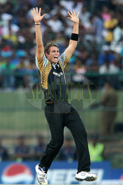 Tim Southee appeals for the wcket of Mahela Jayawardene during the ICC World Twenty20 Super 8s match between Sri Lanka and New Zealand held at the  Pallekele Stadium in Kandy, Sri Lanka on the 27th September 2012..Photo by Ron Gaunt/SPORTZPICS/PHOTOSPORT