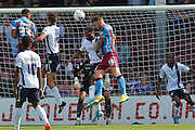 Jack King  heads towards goal during the Sky Bet League 1 match between Scunthorpe United and Millwall at Glanford Park, Scunthorpe, England on 22 August 2015. Photo by Ian Lyall.
