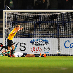 TELFORD COPYRIGHT MIKE SHERIDAN 1/12/2018 - GOAL. Jamie Spencer of Bradford scores to make it 0-2 during the Vanarama Conference North fixture between AFC Telford United and Bradford Park Avenue AFC.