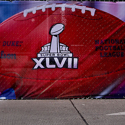 Jan 21, 2013; New Orleans, LA, USA; A general view of a banner outside of the Mercedes-Benz Superdome as preparations are made for Super Bowl XLVII between the Baltimore Ravens and the San Francisco 49ers.  Mandatory Credit: Derick E. Hingle-USA TODAY Sports