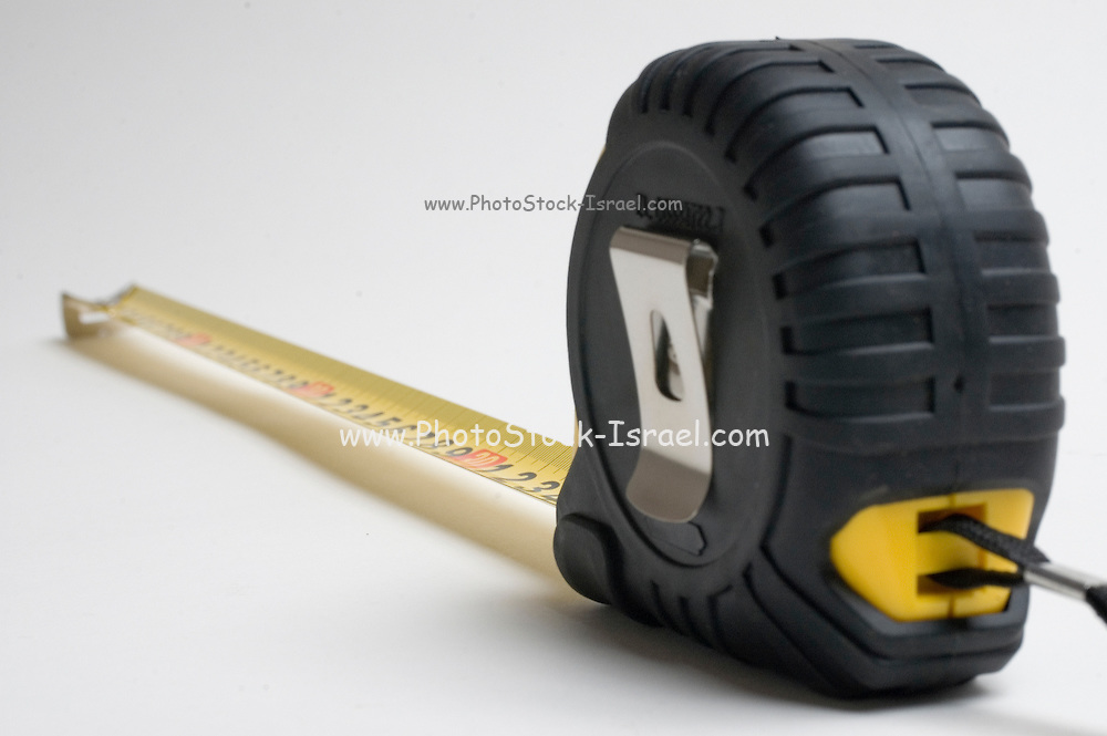 a yellow measuring tape on white background