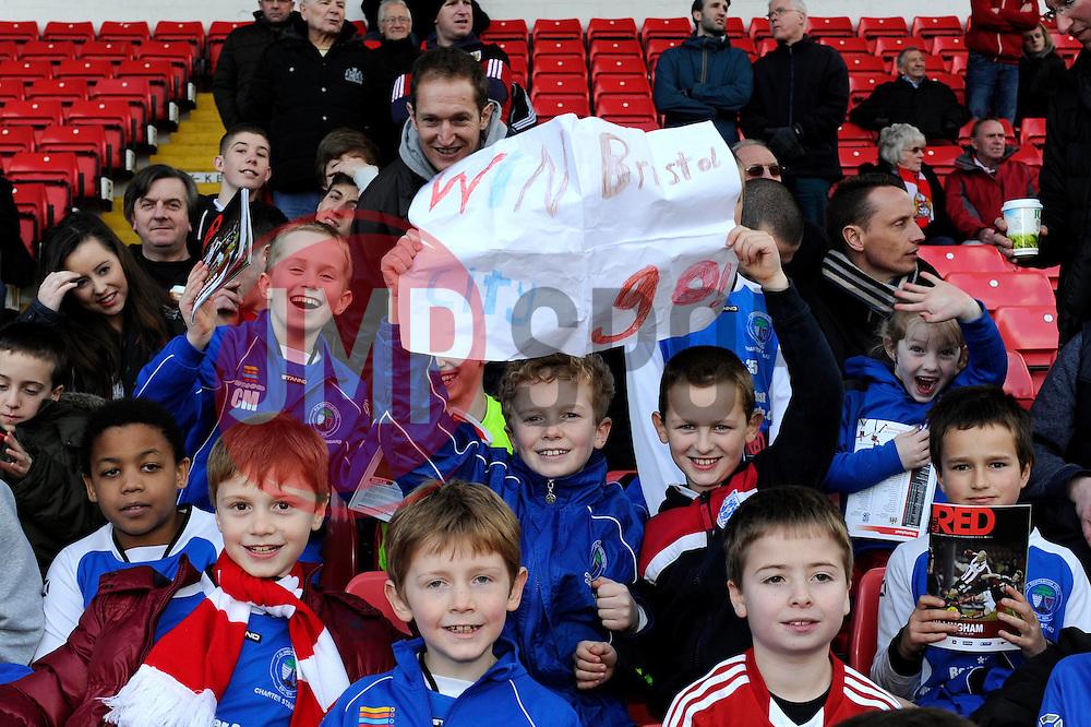 Young Bristol City fans with a home made sign - Photo mandatory by-line: Dougie Allward/JMP - Tel: Mobile: 07966 386802 01/03/2014 - SPORT - FOOTBALL - Bristol - Ashton Gate - Bristol City v Gillingham - Sky Bet League One