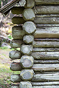 Corner detail of a log cabin on Isle au Haut, Maine, USA