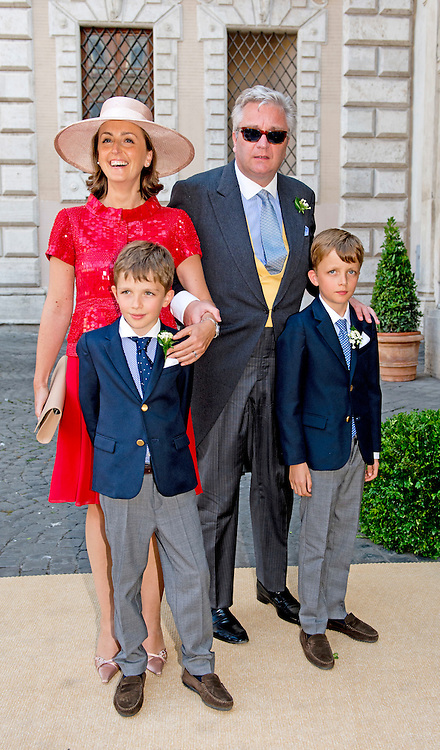 ROME - 5-7-2014 - Prince Laurent and Princess Claire and Prince Niccolas and Prince Aymeric<br />  Wedding Royal marriage of Belgium Prince Amedeo and Lili (Elisabetta) Rosboch von Wolkenstein at the Basilica di Santa Maria in Trastevere in Rome, Italy.  COPYRIGHT ROBIN UTRECHT