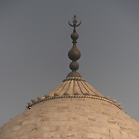 The tamga on top of the Taj Mahal is the official stamp or seal of Islam.  This one symbolizes the Mughal Empire.