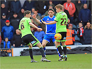 Chris Basham, Ian Henderson, Louis Reed during the Sky Bet League 1 match between Rochdale and Sheffield Utd at Spotland, Rochdale, England on 27 February 2016. Photo by Daniel Youngs.
