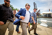 Radio shock jock, conspiracy theorist and founder of Infowars, Alex Jones, at a pro gun rally at the start of the Republican National Convention in Cleveland.