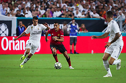 July 31, 2018 - Miami Gardens, Florida, USA - Manchester United F.C. forward Alexis Sanchez (7) drives the ball pressured by Real Madrid C.F. defender Sergio Reguilon (29) (left) during an International Champions Cup match between Real Madrid C.F. and Manchester United F.C. at the Hard Rock Stadium in Miami Gardens, Florida. Manchester United F.C. won the game 2-1. (Credit Image: © Mario Houben via ZUMA Wire)