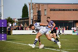 Bristol Outside Centre (#13) Luke Eves scores a try - Photo mandatory by-line: Rogan Thomson/JMP - Tel: Mobile: 07966 386802 01/09/2013 - SPORT - RUGBY UNION - Station Road, Cribbs Causeway, Bristol - Clifton RFC v Bristol Rugby - Pre Season Friendly.