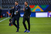 England Head Coach Gareth Southgate during the England walk around the pitch ahead of the Nations League Semi-Final against Holland at Estadio D. Afonso Henriques, Guimaraes, Portugal on 5 June 2019.