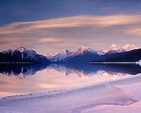 EVENING CLOUDS OVER LAKE McDONALD, GLACIER NATIONAL PARK MONTANA